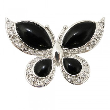 Sterling Silver Pin Onyx Butterfly