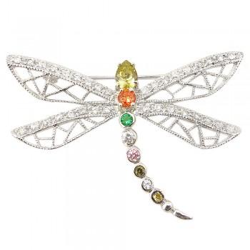 Sterling Silver Pin Oli+Garnet +Emrd Gr+Cl+Pink+Yellow Cubic Zirconia Dragonfly