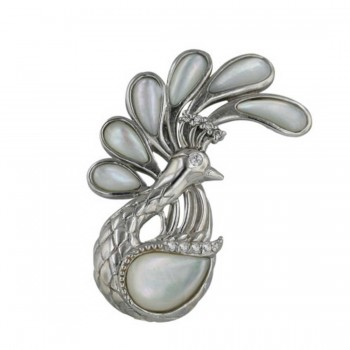 Sterling Silver Pin Mother of Pearl Peacock