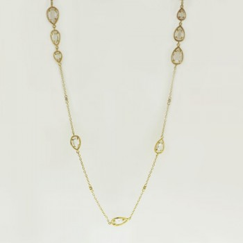 Brass Necklace 36 Inch Gold Plate Chain+18Pcs Clea, Golden