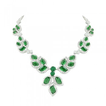 Brass Necklace Multi Wavy Emerald Glass +Clear Cz, Multicolor