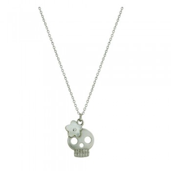 "Brass Nckl Mop Flwr Cl Cz On Skull 16""+3Chain, White"