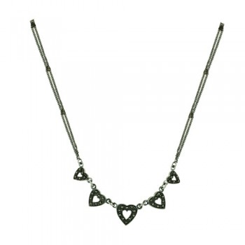 Sterling Silver Necklace Marcasite Hearts Double Chain