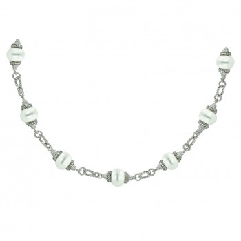Sterling Silver Necklace 12 (10mm) Clear Pearl with Clear Rope Oval Chai