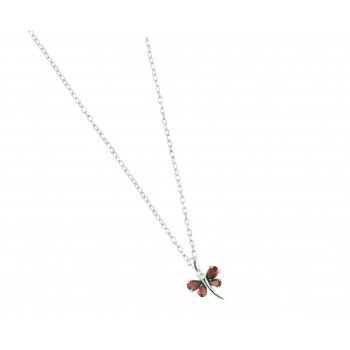 Sterling Silver Necklace 16'' Garnet Cubic Zirconia Dragonfly with 8 Prongs--E-coated/Nickle Free--