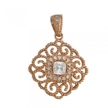 Brass Pendant Filifree 5.5. Mm Clear Cz, Clear