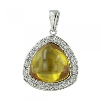 SS Pendant Trillion Yellow Cz Surround By Cl Cz, Multicolor