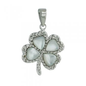 Brass Pendant Mop Heart 4 Leaf Clover, White