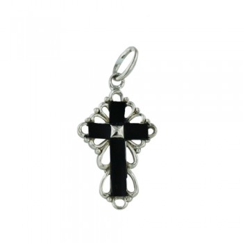 Brass Pendant Onyx Cross Cloud Sides