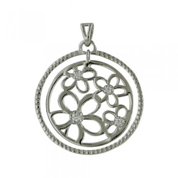Brass Pendant Open Circle Flower Pattern Cl Cz