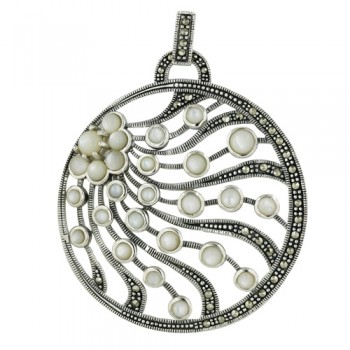 Marcasite Round Pendant with All White Mother of Pearl