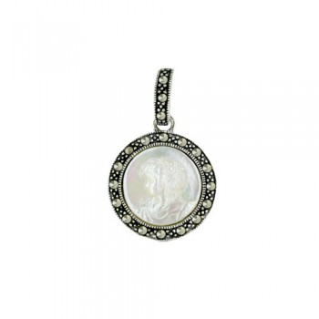 Marcasite Cameo Pendent Mother of Pearl