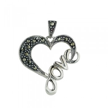 """Marcasite Pendant Open Heart with Word """"Love"""" on One Side"""