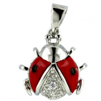 Sterling Silver Pendant 14X20 mm Red Coral with Black Dot Ladybug