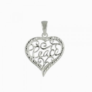 "Sterling Silver Pendant Plain Open Swirl Heart with ""Peace""--Rhodium Plating/Nickle Free-"