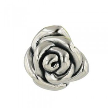 Sterling Silver Pendant 15mm Rose with Oxidized Inner Petals--Sp An