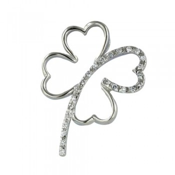 Sterling Silver Pendant Four Leaves with Clover Clear Cubic Zirconia Line