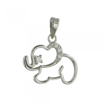 Sterling Silver Pendant Open Elephant with Clear Cubic Zirconia