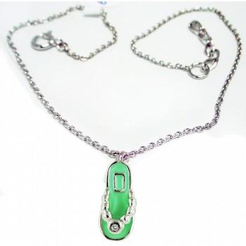 "Sterling Silver Anklet 9.75"" Giddy Green Enamel Slipper with Rectangular"