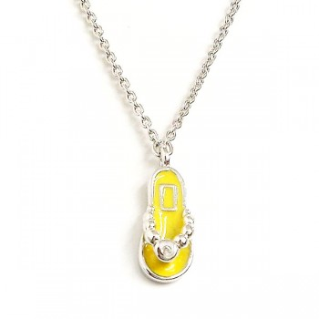 "Sterling Silver Anklet 9.75"" Cheerful Yellow Enamel Slipper with"
