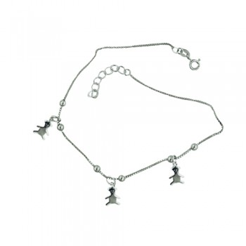 Sterling Silver Anklet Teddy Bear Charms