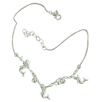 Sterling Silver Anklet Dolphin and Balls Charms