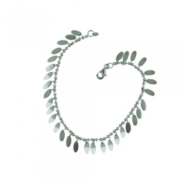 Sterling Silver Anklet Leaf Charms Bead Chain