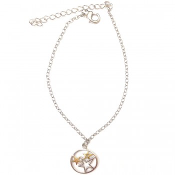 Sterling Silver Anklet Diamond Accent Stars Charm 2 Tones