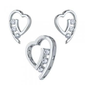 Brass Set Slanted Heart W/ Row Of Clear Cz W/ Rhod, Clear