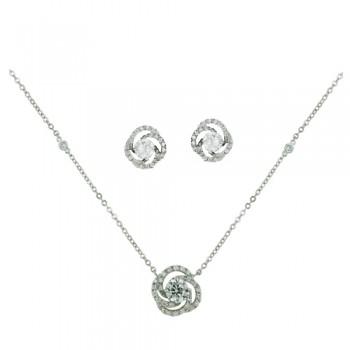 Brass Necklace Earring Swirl Center Cz Rolo Chain
