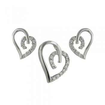 Brass Set Earring+Pendant Heart Line *Rh Nickel Fr