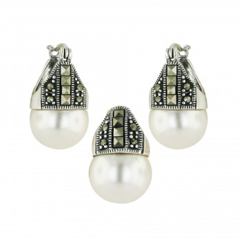 Marcasite Set Square Cut Marcasite White Faux Pearl Latch