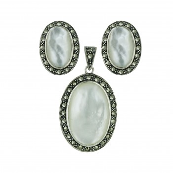 Marcasite Pendant 25X16mm+Earring 16X10mm White Mother of Pearl Oval Caboch