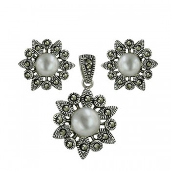 Marcasite Set Earring/Pendant Fresh Water Pearl Center with Round/Marqu