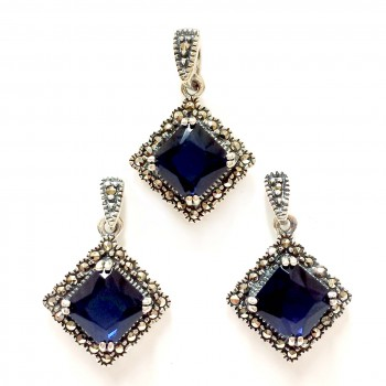 Marcasite Set Swiss Marcasite Rhombus with Sapphire Glass #35