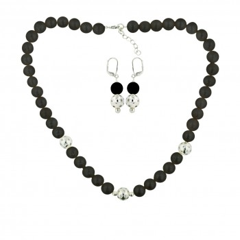Sterling Silver Necklace (42/3) +Earg (1/1) Set Onyx with Clear Cubic Zirconia
