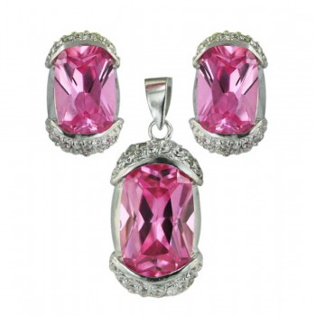 Sterling Silver Pendant 21X11mm+Earring 16X9mm Pink Cubic Zirconia Oval with Clear Cubic Zirconia Top