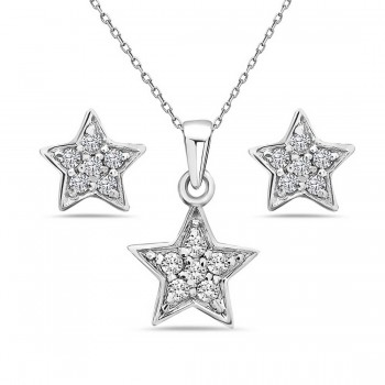 Sterling Silver Set of Pendant and Stud Earring of Star with Clear