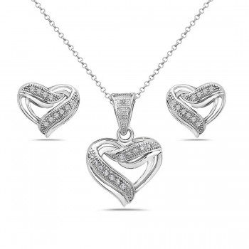 Sterling Silver Set Micro-Paved Open Heart Clear Cubic Zirconia