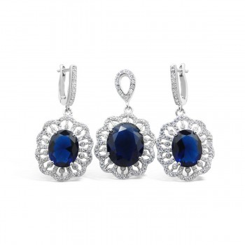 STERLING SILVER SET OVAL SAPPHIRE GLASS RADIATING CUBIC ZIRCONIA LINES