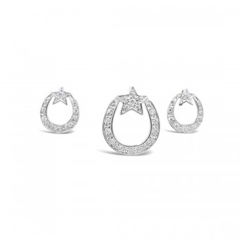 Sterling Silver Set Clear Cubic Zirconia Horseshoe+Star