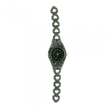 Sterling Silver Watch Round Black Face Marcasite Heart Band