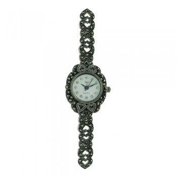 Sterling Silver Watch Round Face Marcasite Heart Band