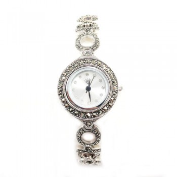 Marcasite Watch Rd Wht. Face Different Oval Strap