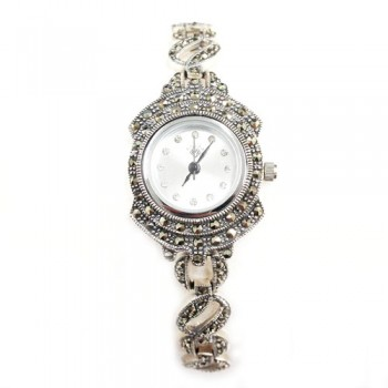 Marcasite Watch Rd White Face Circle+Oval Link Strap