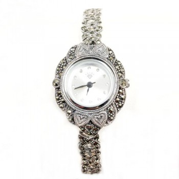 Marcasite Watch Rd White Face Open Heart Link Strap