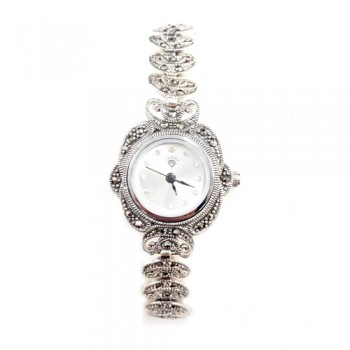 Marcasite Watch Rd Wht. Face Linking Open Bean Strap