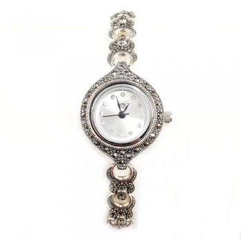 Marcasite Watch Whte Rd Face Open Moon on Strap
