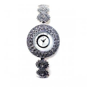 Marcasite Watch Rd Face with 6 Moving Clear Cubic Zirconia Rd Spikey Link
