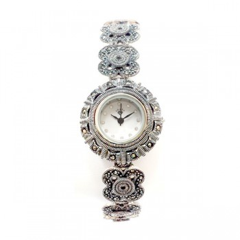 Marcasite Watch 4Leaf Clover Strap Rd Face
